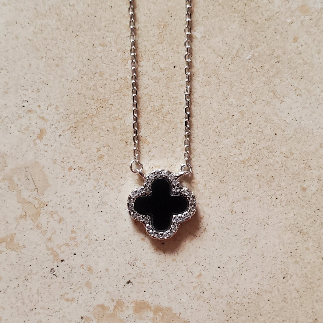 Small Onyx Four Leaf Clover Necklace
