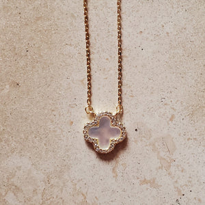 Small Mother of Pearl Four Leaf Clover Necklace