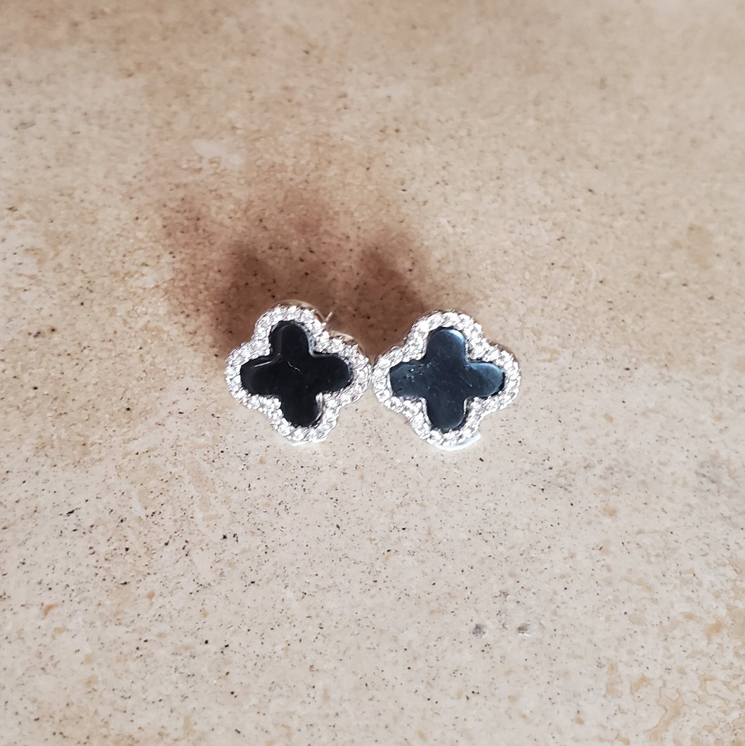 Onyx Four Leaf Clover Earrings