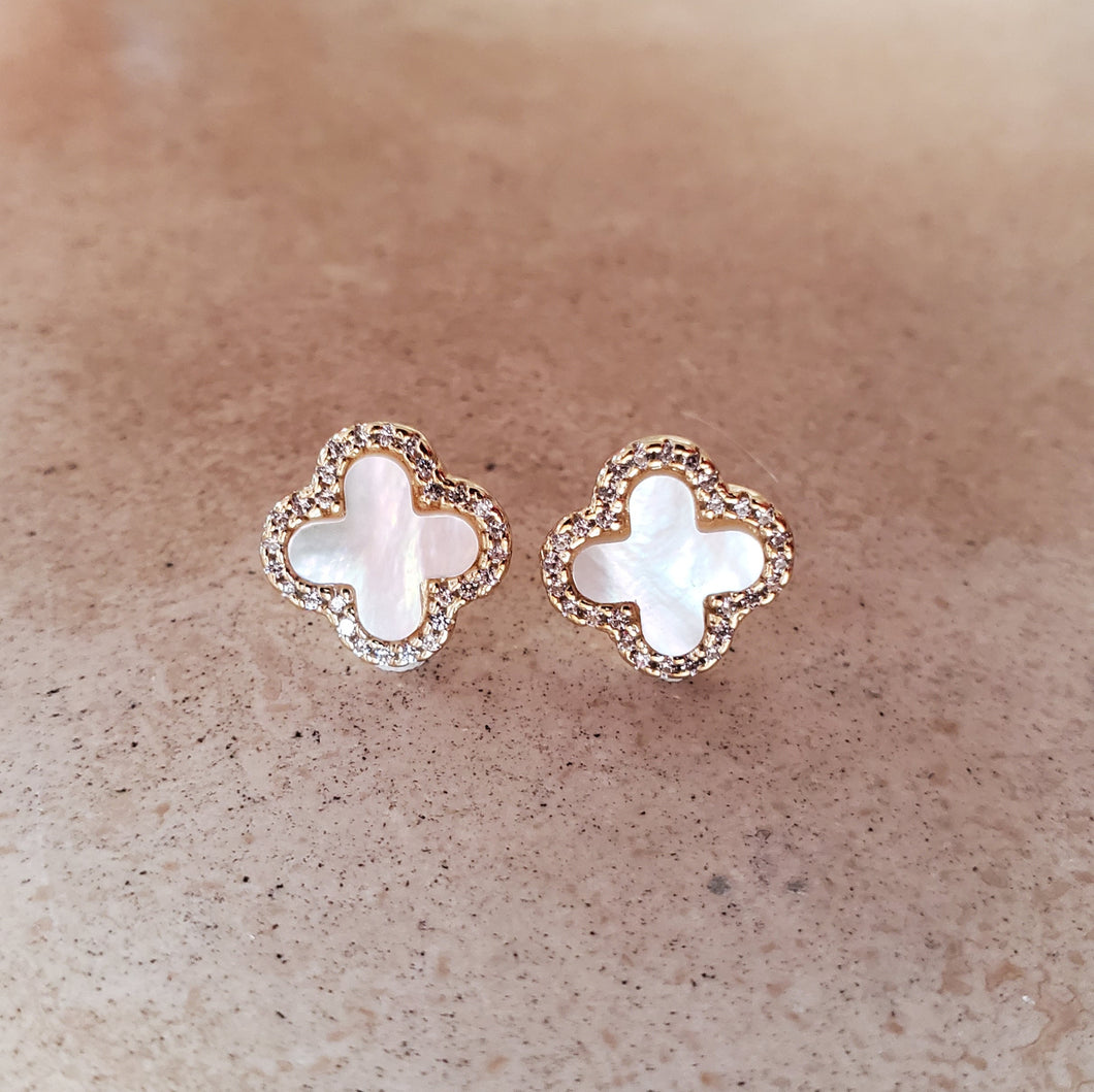 Mother of Pearl Four Leaf Clover Earrings