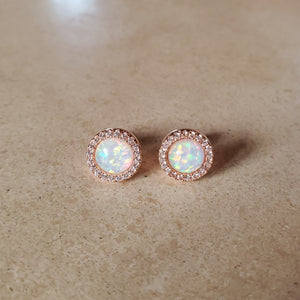 Round Opal Earring with CZ Halo