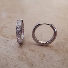 Load image into Gallery viewer, Medium Square CZ Huggie Earrings