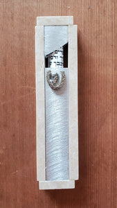Medium Aluminum and Jerusalem Stone Mezuzah