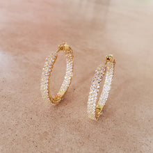 Load image into Gallery viewer, Three Row CZ Hoop Earrings