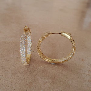 Three Row CZ Hoop Earrings