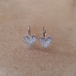 CZ Heart French Back Earrings