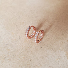 Load image into Gallery viewer, Rose Gold and CZ Huggie Earrings