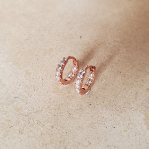 Rose Gold and CZ Huggie Earrings
