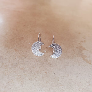 CZ Moon Earrings with French Back
