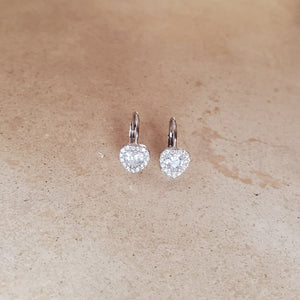 Small CZ Heart Earrings with French Back
