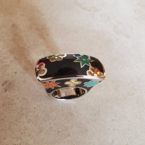 Black Murano Rectangular Ring