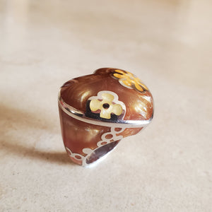 Brown Murano Heart Ring