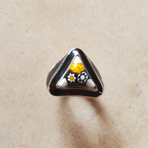 Black Murano Triangular Ring