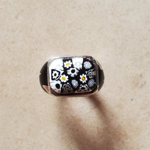 Black and White Square Murano Ring