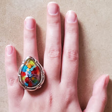 Load image into Gallery viewer, Colorful Murano Glass Teardrop Ring