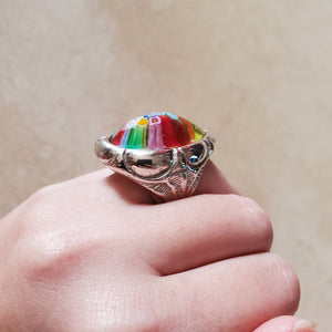 Colorful Murano Glass Teardrop Ring
