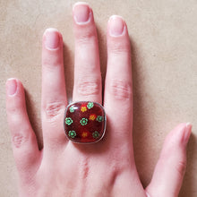 Load image into Gallery viewer, Red and Green Square Murano Glass Ring