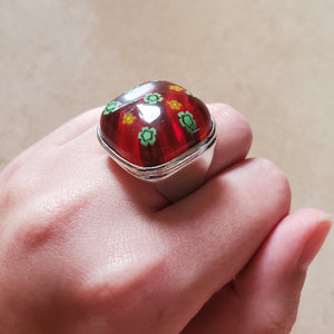 Red and Green Square Murano Glass Ring