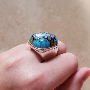 Blue Square Murano Glass Ring