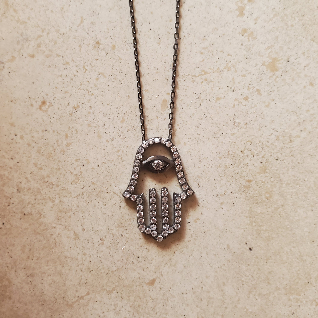 CZ Hamsa with Eye on Black Silver Necklace