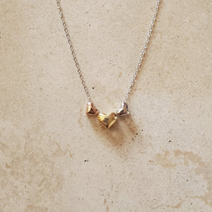 Three Tri-Color Heart Necklace