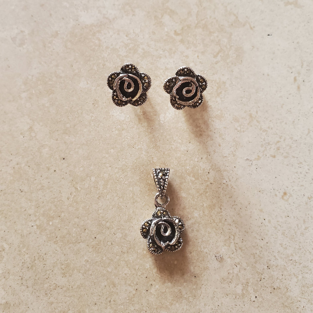 Marcasite Rose Pendant and Earring Set