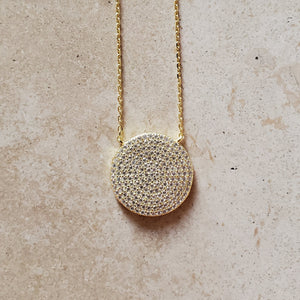 Large CZ Circle Necklace