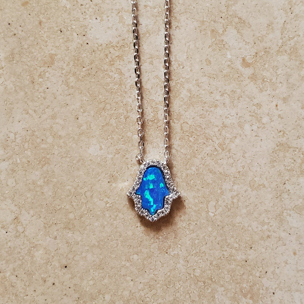 Blue Opal Hamsa with CZs