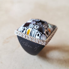 Load image into Gallery viewer, Black Square Murano Glass Ring