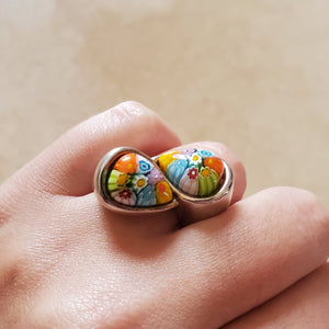 Double Teardrop Murano Glass Ring