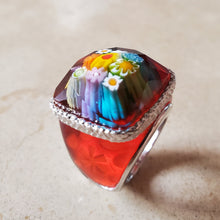Load image into Gallery viewer, Red Square Murano Glass Ring