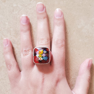 Red Square Murano Glass Ring