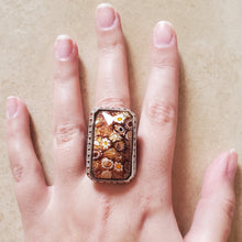 Load image into Gallery viewer, Brown Rectangular Murano Glass Ring