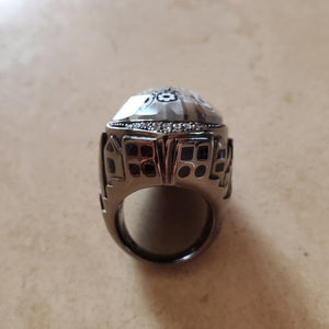 Black and White Teardrop Murano Glass Ring