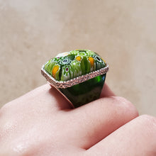 Load image into Gallery viewer, Green Rectangular Murano Glass Ring