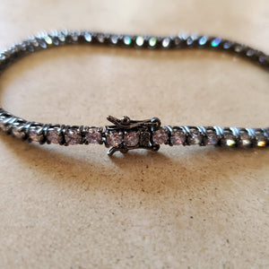 Oxidized Sterling  Tennis Bracelet