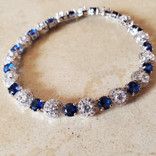 Load image into Gallery viewer, Blue and Clear CZ Tennis Bracelet
