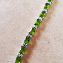 Load image into Gallery viewer, Silver with Green CZ Tennis Bracelet