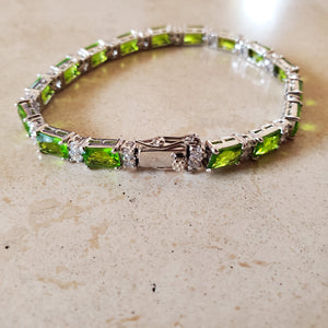 Silver with Green CZ Tennis Bracelet