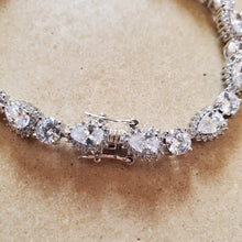 Load image into Gallery viewer, Silver Teardrop CZ Tennis Bracelet
