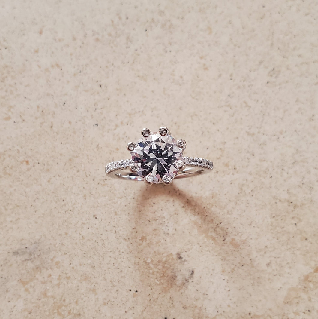8 Prong CZ Engagement Ring