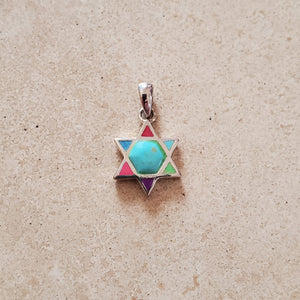 Multi Color Star of David Pendant