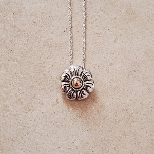 Silver With Gold Flower Necklace
