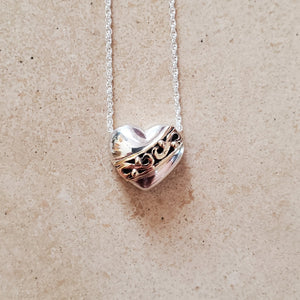 Silver With Gold Heart Necklace