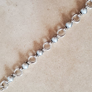 Silver and Pearl Circle Bracelet