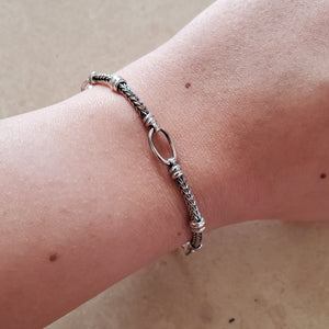 Oxidized Oval Loop Bracelet