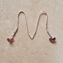 Load image into Gallery viewer, Dangling Silver Heart on Long Wire Earring