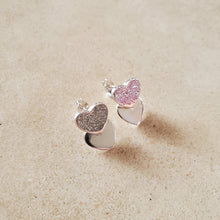 Load image into Gallery viewer, Silver Heart on Heart Earrings
