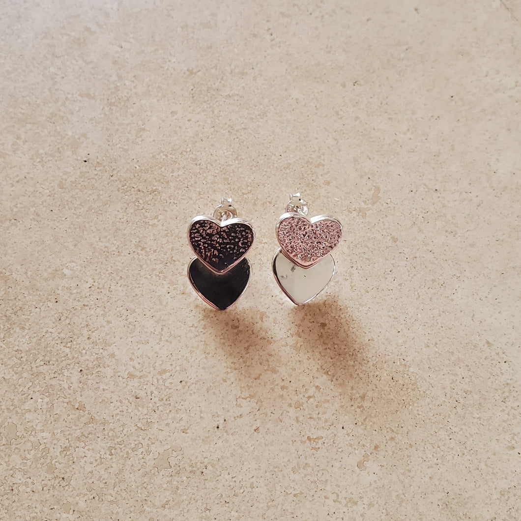 Silver Heart on Heart Earrings