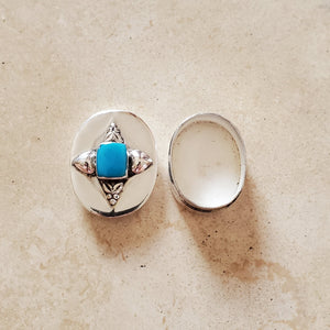 Oval Silver with Turquoise Pill Box